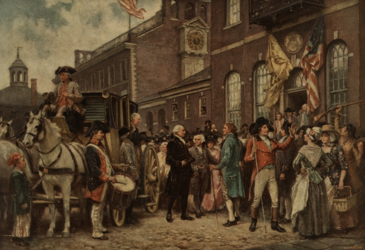 Image of Washington's inauguration at Philadelphia by J.L.G. Fer