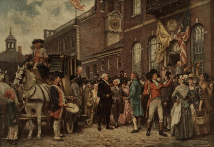 Image of Washington's inauguration at Philadelphia by J.L.G. Fer