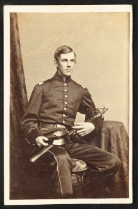 Major Oliver Wendell Holmes of Co. A and Co. G, 20th Massachusetts Infantry Regiment in uniform with sword